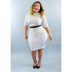 Plus size high waist skirt crop two piece Striped high waist skirt and crop top set.  Featuring elastic band waist and 3/4 sleeve. See photo for measurements.   Available in sizes 1X/2X/3X.   See photo for measurements. Measurements are in inches. Skirts Skirt Sets