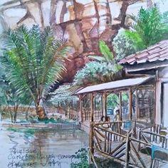 Nyeket sabari disuguhan kopi ku Ny. @teddy_suchyart di warkop Tebing Kosmo #CurugBatuTemplek #Cimenyan#inktober #inktober2018 #inktober2018day16 #inktoberindonesia #inktoberindonesia2018 Inktober, Sketch, Painting, Travel, Instagram, Art, Sketch Drawing, Art Background, Viajes