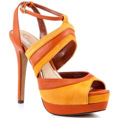 This Jessica Simpson sandal features a two toned pump created with two shades of orange. Sexy Heels, Stiletto Heels, Stilettos, Baskets, Jessica Simpson Sandals, Jaune Orange, Orange Yellow, Funny Fashion, Fashion Humor
