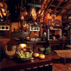 Cozinha com fogão a lenha e mobiliário rústico - lindo! (Kitchen with wood stove and rustic furnishings - beautiful! Brazil)