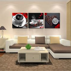 3 Panel Modern Still Life Paintings Printings Coffee Painting Canvas Art  Picture For Living Room Kitchen
