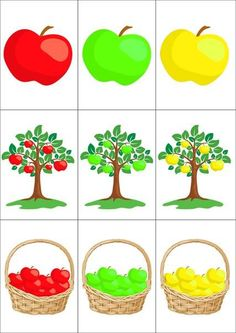 Preschool Colors, Preschool Worksheets, Toddler Preschool, Toddler Activities, Preschool Activities, Apple Activities, Autumn Activities, Craft Activities, Flashcards For Kids