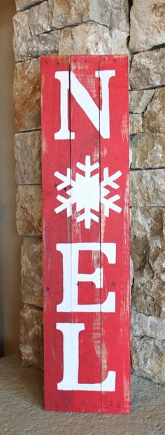 NOEL Reclaimed Wood Sign, Chistmas Decor, Red and White, hand-painted, decoration, wall art, distressed, rustic, signage,