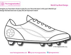 Design your own World Cup goal scoring boots! Make it as colorful as you can, free to download and print