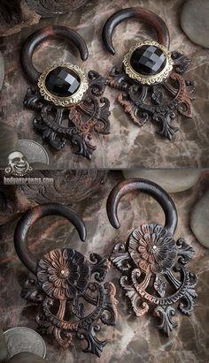 Ebony wood Tears of Gaia with brass and black onyx