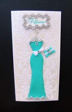 Tiffany Personalized Dress Card / Handmade Greeting by BSylvar, $19.00, Classy
