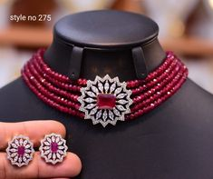 New Neck Chocker Collection - Indian Jewelry Designs Moroccan Jewelry, Indian Jewelry Sets, Fancy Jewellery, Gold Jewellery Design, Pearl Necklace Designs, Gold Necklace, American Diamond Jewellery, Gold Jewelry Simple, Hyderabadi Jewelry