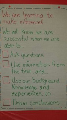 Making Inferences - learning goal and co-created success criteria. L. Hilderley