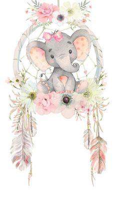 Baby Girl Elephant, Elephant Love, Elephant Art, Elephant Nursery, Baby Animal Drawings, Cute Drawings, Baby Shower Princess, Jolie Photo, Baby Art