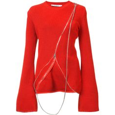 Givenchy Asymmetric Sweater (49.030 RUB) ❤ liked on Polyvore featuring tops, sweaters, red, crew neck tops, givenchy sweater, givenchy, red top and crew-neck sweaters
