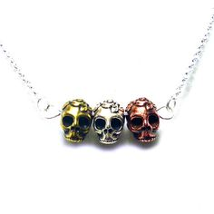 Triple Day of the Dead Sugar Skull Necklace at shanalogic.com
