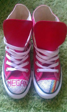 fccf6b0c27d9 Adults red genuine swarovski converse with personalisation