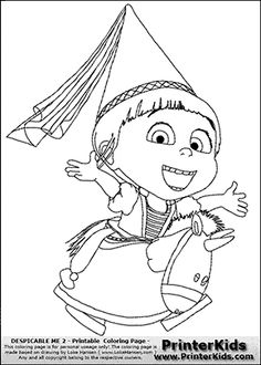 Despicable Me 2 - Agnes and Unicorn #2 - Coloring Page