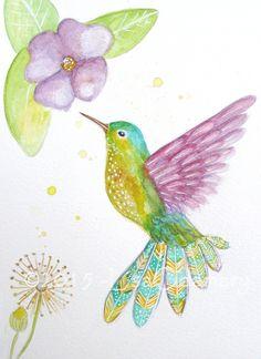 """:::: PINTEREST.COM christiancross ::::  Aquarelle d'un oiseau colibri """" Petit colibri"""" 15 x 21 cm. : Peintures par bluedreams"""