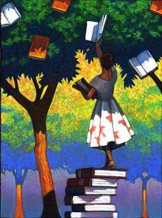 It's time to collect the flowerbooks from the tree / Es hora de recoger las florelibros del árbol (ilustración de Miles Hyman)