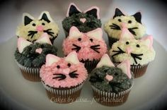 Cat Cupcakes: Cakes By Lisa.for Michael and like OMG! get some yourself some pawtastic adorable cat apparel! Dog Cupcakes, Animal Cupcakes, Cute Cupcakes, Cupcake Cakes, Kitten Cake, Kitten Party, Cat Party, Fete Emma, Cat Themed Parties