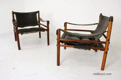 Arne Norell safari chairs in leather and rosewood