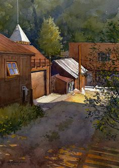 """Telluride Alley by Richard Sneary Watercolor ~ 14"""" x 10"""""""