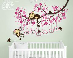 Girl Monkey Nursery Blossom tree branch wall by wallstaledecor