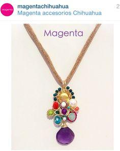 Síguenos en instagram y checa todo lo que tenemos! Collar con amatista, perlas y cristales en chapa de oro.