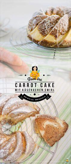Saftiger Carrot Cake mit Cheesecake-Swirl oder zu Deutsch: Rüblikuchen mit Käsekuchen Füllung. Egal, wie man es nennt: Das ist ein perfekter Frühlingskuchen! | BackIna.de