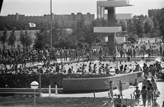 1960's. Diving tower at the Sloterplas in Amsterdam-West. #amsterdam #1960 #Sloterplas