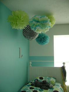 So cute in girl's room. Tutorial for tissue pom poms