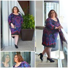 "LeAnne of ""Adventures of the Un-Martha"" in the INC Exotic Print Sheath Dress Curvy Fashion, Plus Size Fashion, Latest Fashion, Curvy Style, Sheath Dress, Exotic, Feminine, Summer Dresses, Inspired"