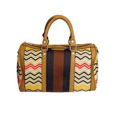 Street Level Zig Zag Printed Satchel on Little Black Bag :: Geometric :: Satchel :: Striped :: Handbag