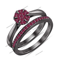 Brilliant Round Cut Pink Sapphire 14Kt Black Gp 2-Pcs Bridal Engagement Ring Set