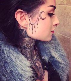 Small Face Tattoos, Face Tats, Face Tattoos For Women, Tattoos For Women Small, Tattoo Girls, Girl Face Tattoo, Girl Tattoos, Tribal Tattoos, Tattoos Skull