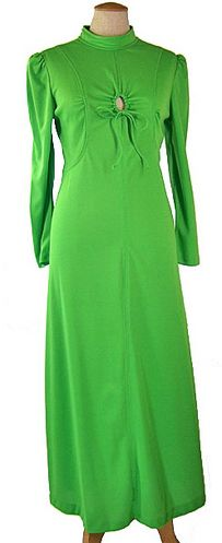 Vintage lime green peek-a-boo maxi dress. 1970s Clothing, Ladies Day Dresses, Weird Fashion, Peek A Boos, High Collar, Green Dress, Lime, Cold Shoulder Dress, Gowns
