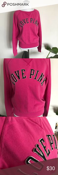 PINK Victoria's Secret Boatneck Sweatshirt GUC. Slight wash wear. Bright pink with black and white lettering. Logo on front is raised 3D letters and logo on back is printed. Wide waistband and cuffs. PINK Victoria's Secret size small. PINK Victoria's Secret Tops Sweatshirts & Hoodies