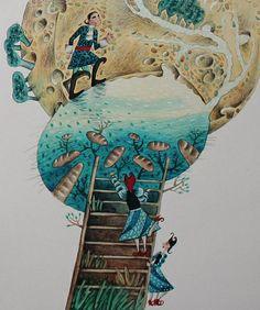 "Svetlana Akateva illustration for ""Baron Munchausen"". Baron, Ukraine, Illustrator, Cow, Moose Art, Painting, Animals, Animales, Animaux"