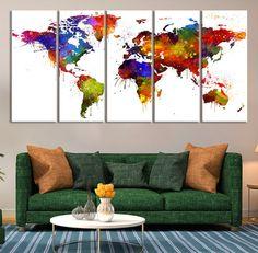Monde carte toile Art Print monde de l'Art par ExtraLargeWallArt