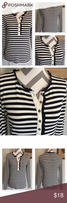 Tommy Hilfiger Long Sleeve Striped Thermal Top Navy and white stripe thermal top. Navy ruffle around neckline and down one side of buttons. Bust: 17 in. Sleeves: 24 in. Length: 23 in. 100% cotton. Medium. Excellent condition! Tommy Hilfiger Tops Tees - Long Sleeve