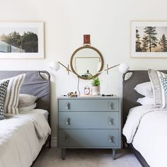 Vintage Bedroom Love this calm neutral and sophisticated shared kids room. - Check out the fun kids' spaces in our Austin, Texas Project! Home Bedroom, Girls Bedroom, Bedroom Decor, Kid Bedrooms, Girl Rooms, Lego Bedroom, Childs Bedroom, Bedroom Lighting, Guest Room Nursery