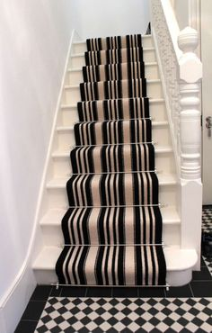 Home, Elegant Carpet For Stairs Black And White Stripes: The colorful design of Elegant Carpet for Stairs