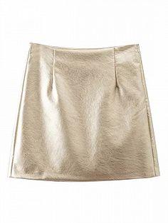 Golden High Waist Leather Look A-line Mini Skirt