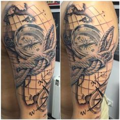 Tattoos - Mapa y brujula realista en negro y gris - Realistic map and compass in black and grey - 117470