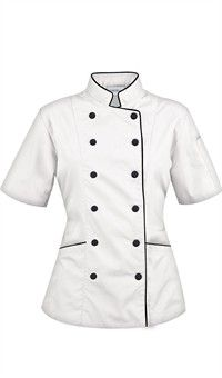Women's Tailored Chef Coat with Piping. is this not the cutest chef's coat ever? Chef Dress, Chef Shirts, Work Uniforms, Doctor Coat, Hotel Uniform, Coats For Women, Chef Jackets, Clothes, Chef Coats