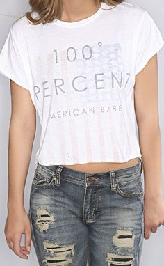 """the laundry room 100% american babe crop tee--get 15% off + Free Shipping w/code """"RiffraffRepLauren"""" at checkout on ShopRiffraff.com!"""