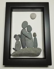 Beach Grass — Pebble Art Family of Three with Dog PA3D1025