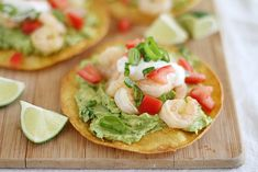 Shrimp Avocado Tostadas    Try it with grilled shrimp or on smaller tortillas or round tortilla chips as an appetizer. Add cilantro.