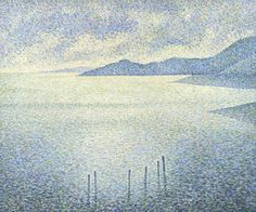 Coastal Scene about 1892, Théo van Rysselberghen Rysselberghe adopted the pointillist style, creating a composition using countless tiny dots of complementary colours, after seeing the work of Georges Seurat. He formed a close friendship with Seurat's follower, Paul Signac, and in the early 1890s produced a series of deceptively simple, light-filled and densely worked seascapes as van Rysselberghe and Signac travelled and painted together. National galleryLondon