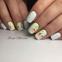 21 Gorgeous Floral Nail Designs for Spring - 101 NailDesign Accent Nail Designs, White Nail Designs, Nail Designs Spring, Beautiful Nail Designs, Nail Art Designs, Tulip Nails, Rose Nails, Rose Nail Design, Different Types Of Nails