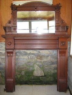 Architectural salvage, a Victorian mantle Victorian Farmhouse, Victorian Decor, Victorian Homes, Victorian Era, Victorian Fireplace Mantels, Fireplace Mantles, Dream Furniture, Antique Furniture, Concept Home