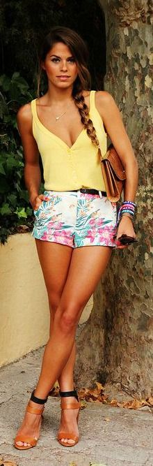 Floral Shorts + Yellow Tank