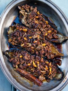 Stuffed aubergine with lamb and pine nuts, by Yotam Ottolenghi and Sami obviously I need to substitute lamb and avoid the sugar