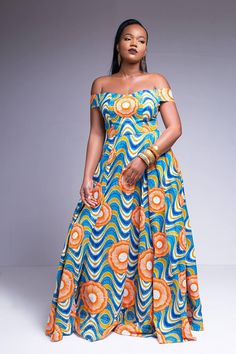 African Print Off the Shoulder Evening Gown Latest African Fashion Dresses, African Dresses For Women, African Attire, African Wear, African Style, African Print Dress Designs, African Print Dresses, African Print Fashion, African Design